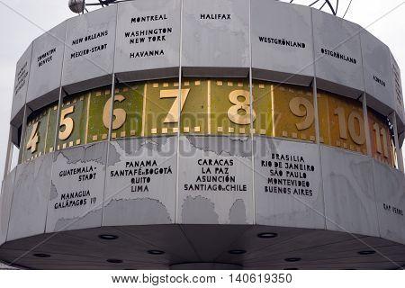 The Weltzeituhr (World Clock) at Alexanderplatz, Berlin, Germany, Europe