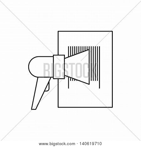Bar code on cargo icon in outline style isolated on white background. Shipping symbol