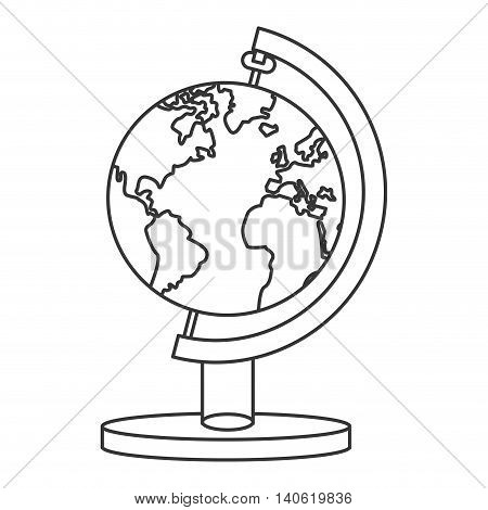 flat design spinning world map icon vector illustration