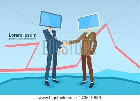 Business People With Computer Monitor Head Shake Hand Agreement Flat Vector Illustration