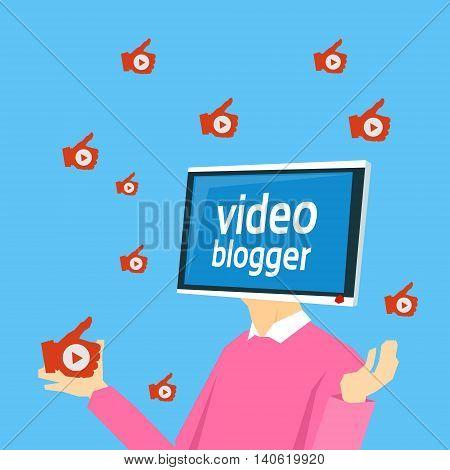 Video Blogger Computer Monitor Head Flat Vector Illustration