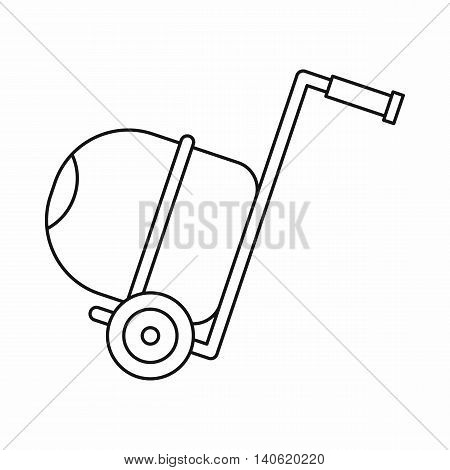 Concrete mixer icon in outline style isolated on white background. Construction symbol