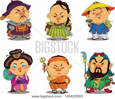 Cartoon. Vector. Funny Chinese people in national costumes travesty cartoon. Characters. Chinese set. Isolated objects.