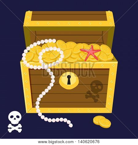 Pirate treasure chest full of gold coins and string of pearls vector in cartoon style. Dower chest game art illustration.