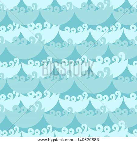 Blue water curly waves seamless pattern. Water flow ocean tide background for textile fabric.