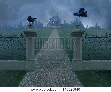 Mistery old house in the fog and two crows on the gate