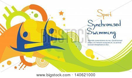 Synchronized Swimming Athlete Sport Competition Colorful Banner Flat Vector Illustration