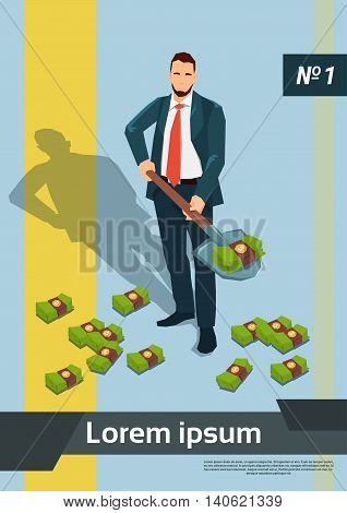 Rich Business Man Digging Money With Shovel Flat Vector Illustration