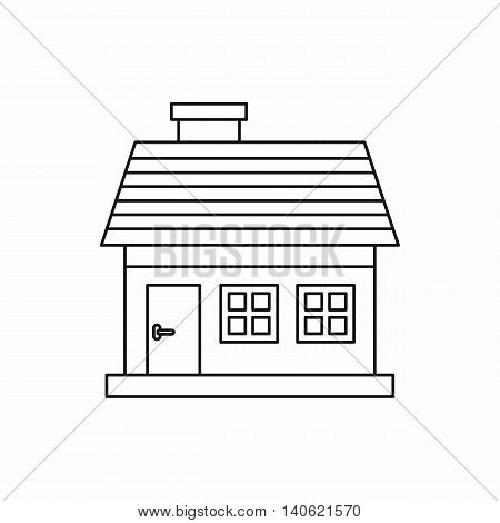 One-storey house icon in outline style isolated on white background. Construction symbol