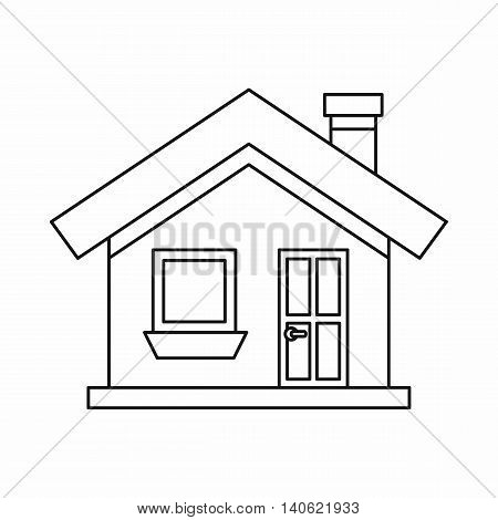 One-storey house with chimney icon in outline style isolated on white background. Construction symbol