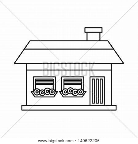 One-storey house with two windows icon in outline style isolated on white background. Construction symbol