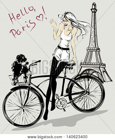 Retro fashion girl with dog in a bicycle basket near Eiffel Tower Paris vector illustration