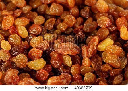 The Dried raisins background on close up