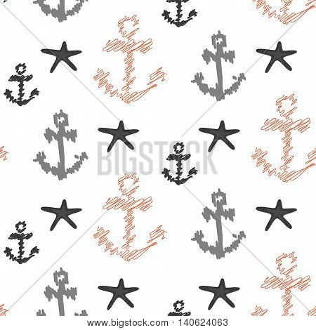 Nautical anchor seamless vector pattern on white. Scribble red and grey anchors with sea stars background for textile fabric.