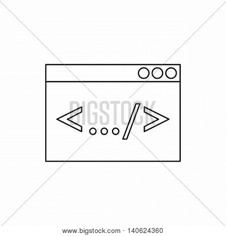 Browser window with sign left right icon in outline style isolated on white background. Internet symbol