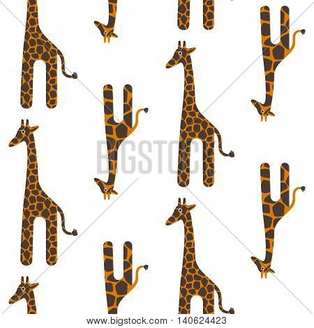 Giraffe cute vector seamless pattern. Giraffe brown and orange texture spots. Safari wild animal child background.
