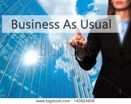 Business As Usual - Businesswoman Pressing High Tech  Modern Button On A Virtual Background