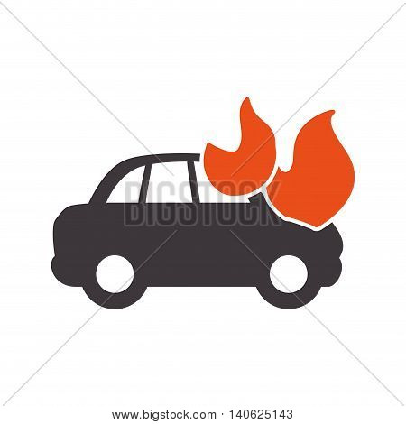 Insurance and Protection concept represented by car accident icon. Isolated and flat illustration