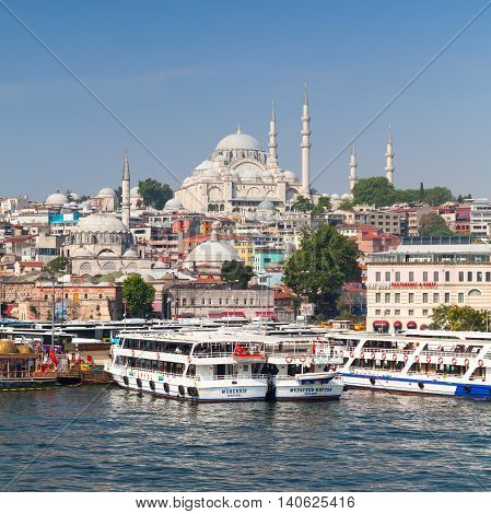 Istanbul, Turkey. Cityscape With Passenger Ships