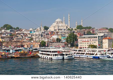 Istanbul, Turkey. Cityscape With Ships In Golden Horn