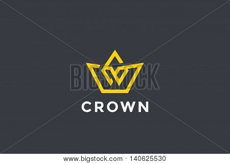 Crown Logo design vector Linear style Royal symbol Logotype icon