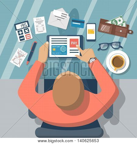 Pay bills online. Online payment on internet concept. Flat design style vector illustration. Credit card digital tablet bill. Man at desk with a tablet.