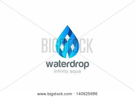 Water drop Logo Infinity design vector Droplet aqua oil icon