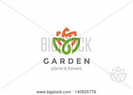 Flower Logo design vector Linear Cosmetics SPA Fashion icon