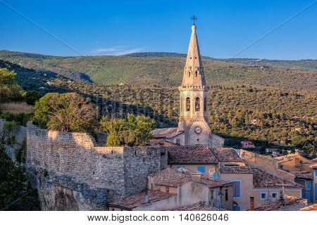 Saint-Saturnin-lès-Apt with church bell in Provence France