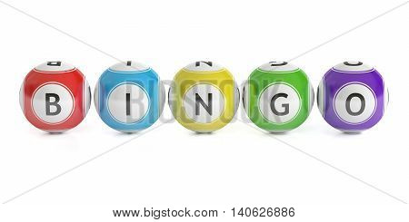 Bingo concept lottery balls. 3D rendering isolated on white background