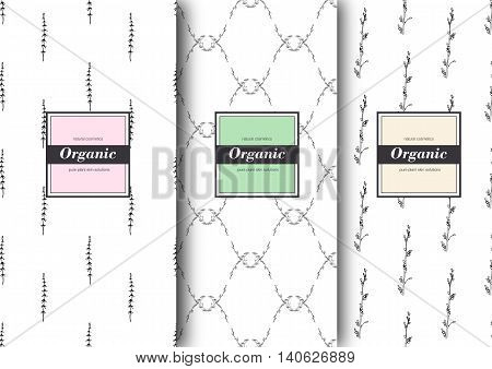 Set of labels packaging for organic shop or natural cosmetics. Vector floral patterns with tender colours. Template for packing product.