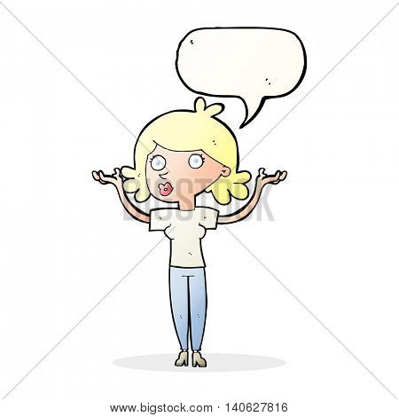 cartoon woman throwing arms in air with speech bubble