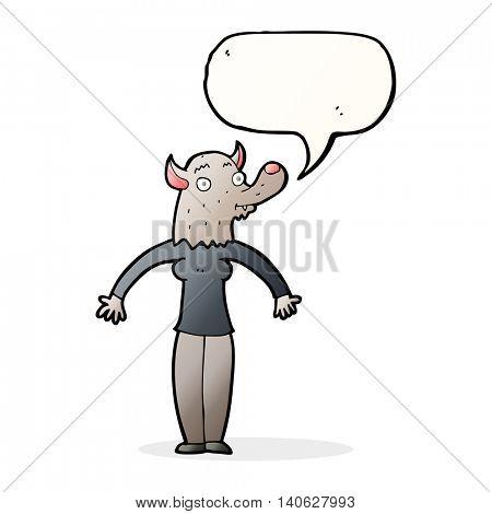 cartoon friendly werewolf woman with speech bubble