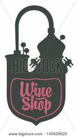 logo for a wine shop with a picture of wine production