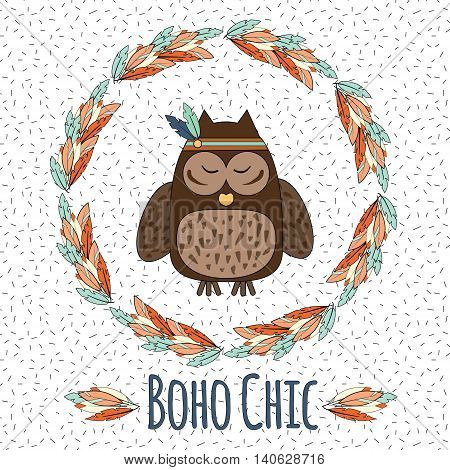 Boho owl and feather wreath in hand drawn style. Tribal ethnic boho chic inspirational vector illustration