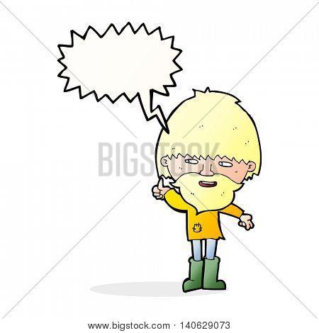 cartoon hippie man in wellington boots with speech bubble