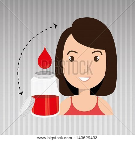 woman young bood donor vector illustration eps 10