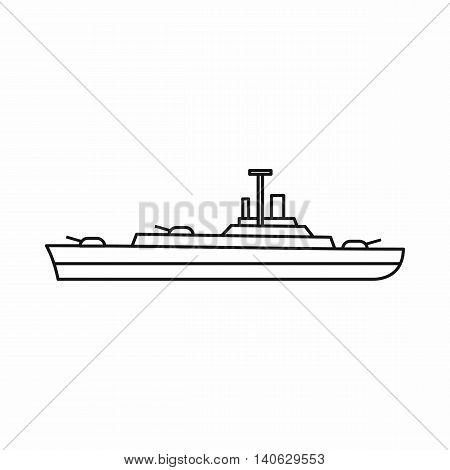 Warship icon in outline style isolated on white background. Military symbol