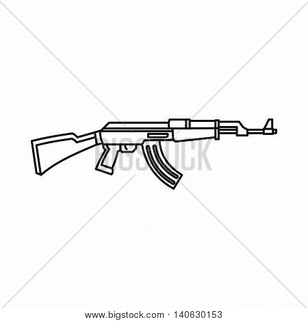 Rifle icon in outline style isolated on white background. Weapons symbol