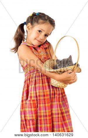 Little girl holding a gray kitten in basket, isolated on white