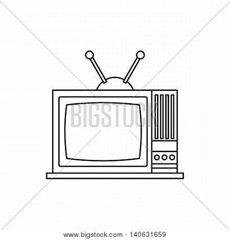 Retro TV icon in outline style isolated on white background. Broadcast symbol
