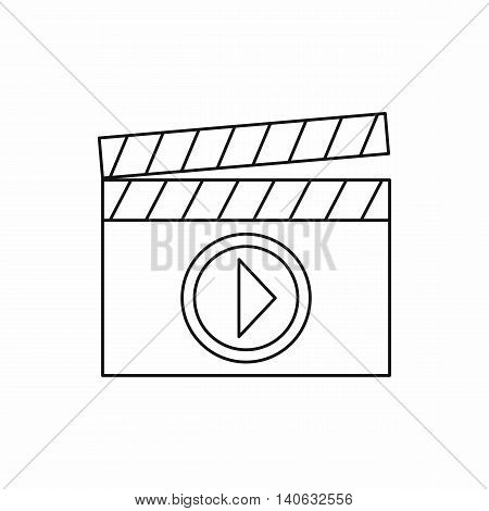 Clapperboard for movie shooting icon in outline style isolated on white background. Film symbol