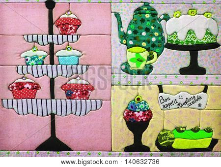 decor fabric for the kitchen with sweets. bon appetit inscription