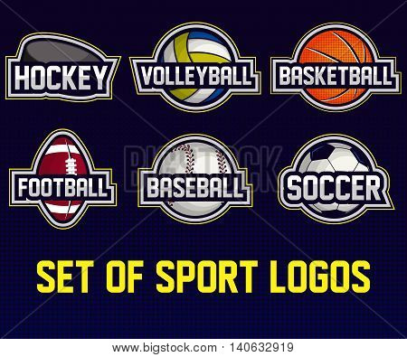Mega set of colorful sports logos soccer, american football, volleyball, bbaseball, basketball, hockey. Vector abstract isolated illustration.