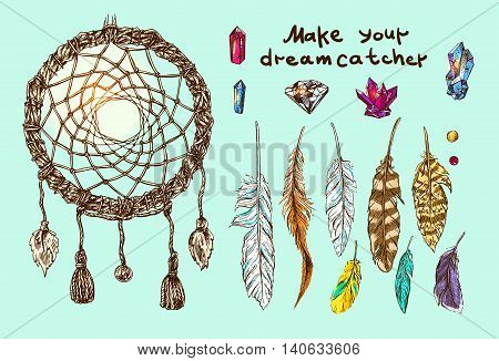Sketch hand drawn vector collection with  elements for making of dreamcatcher. Make you mascot.