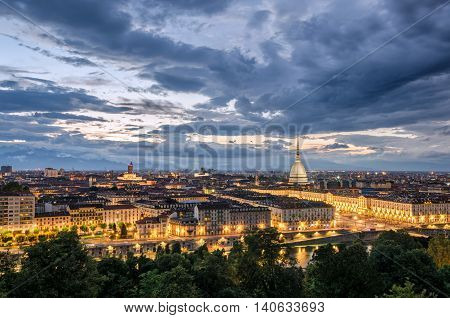Torino panorama at twilight with Mole Antonelliana