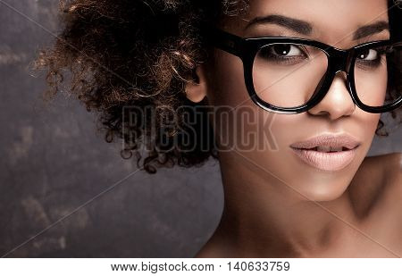 Portrait Of Young African Girl With Afro.