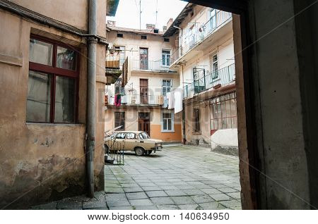 Lviv, Ukraine - May 30, 2016: The old courtyard in the historic district of Lviv