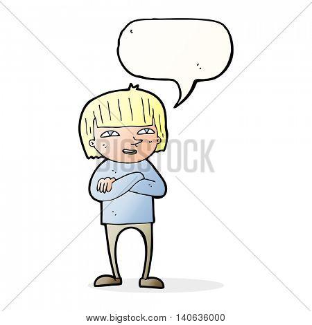 cartoon happy person with speech bubble