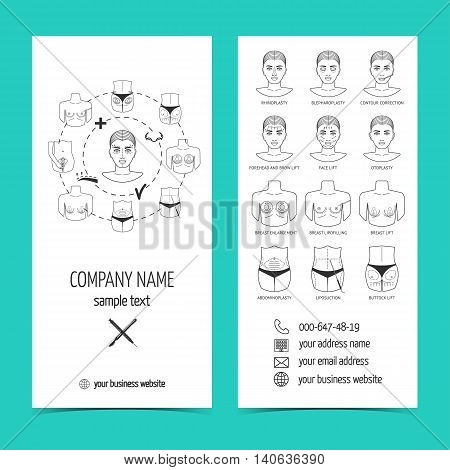 Flyer brochure for plastic surgery clinic with line icons. Set of promotional products. Flat design. Vector illustration